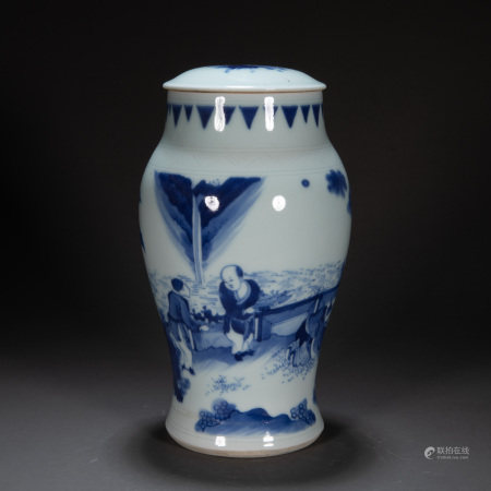 CHINESE QING DYNASTY BLUE AND WHITE JAR
