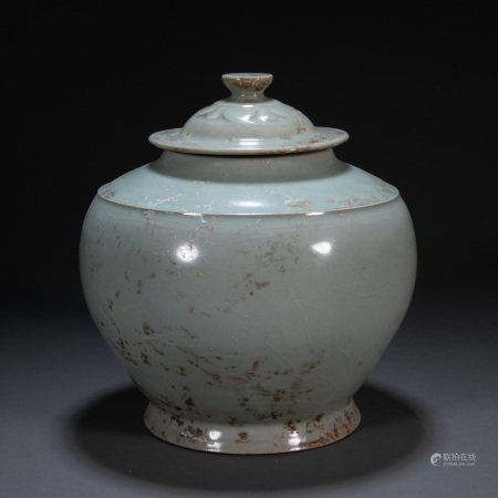 YAOZHOU WARE LID JAR, FIVE DYNASTIES, CHINA