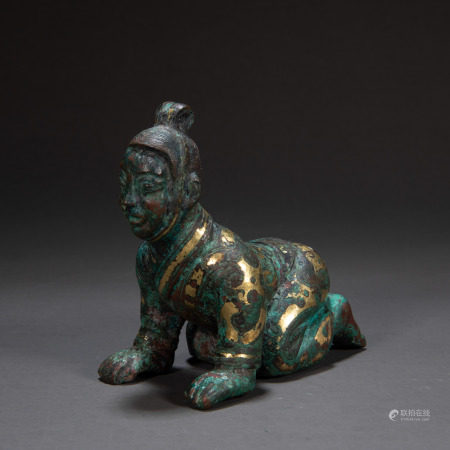 CHINESE FIGURE INLIAID WITH GOLD, HAN DYNASTY
