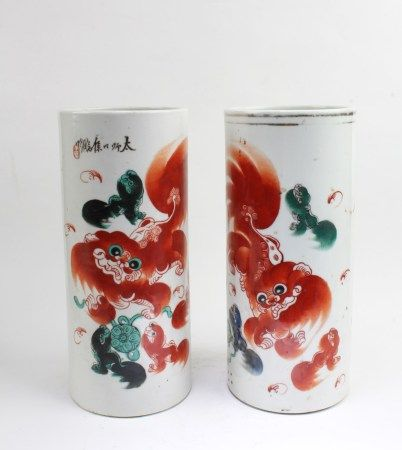 Two Chinese Porcelain Hat Holders
