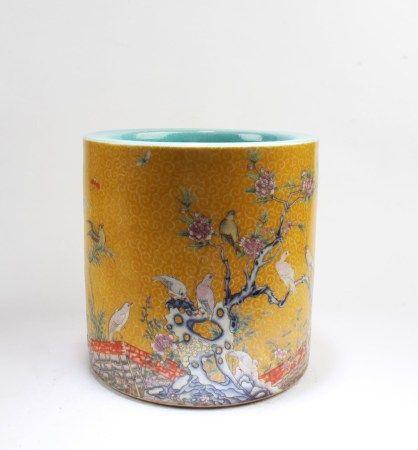 Chinese Famille Jaune Porcelain Brushpot