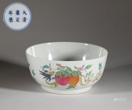 Famille rose bowl with litchi painting from Qing 清代粉彩龍紋荔枝大碗