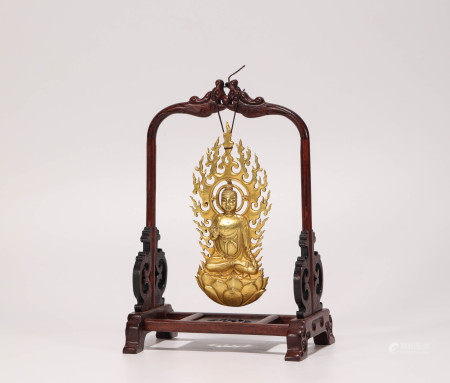 Gold buddhism sculpture from Qing 清代金制佛祖像