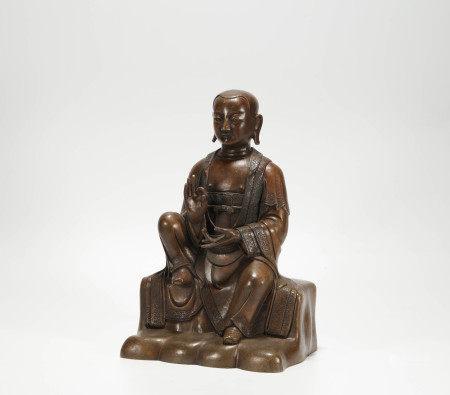 Copper buddhism sculpture from Ming 明代銅制祖師像