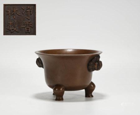 Copper censer with three feet from Qing 清代銅制獸首三足香爐