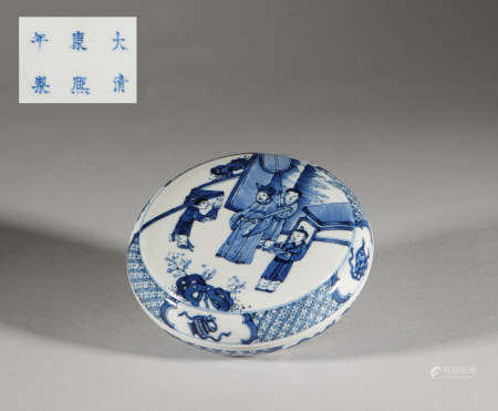 White and blue ceramic makeup container from Qing 清代青花人物故事粉盒