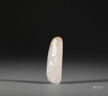 Hetian jade board from Qing 清代和田玉花卉牌