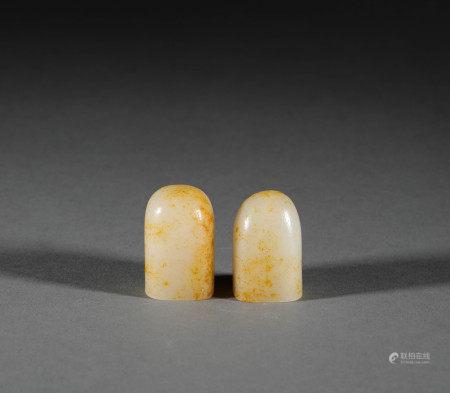 Hetian jade raw gemstone seals from Qing 清代和田玉原石印章