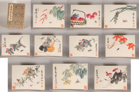 Flower water ink painting album by Baishi Qi from ancient China  中國水墨花卉畫 齊白石 紙本册頁