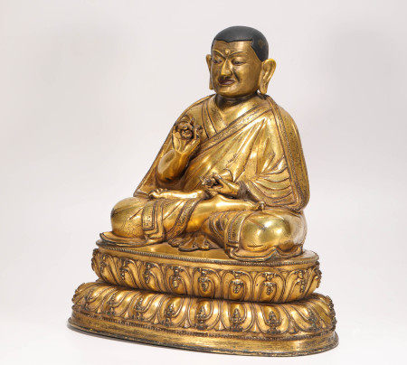 Copper and gilding buddhism sculpture from Qing 清代銅鎏金祖師像
