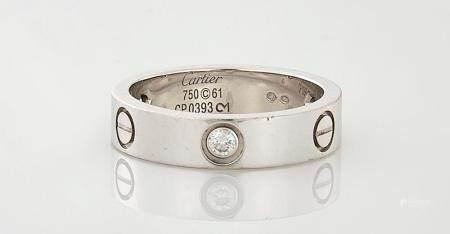 CARTIER DIAMOND & 18K WHITE GOLD 'LOVE' RING