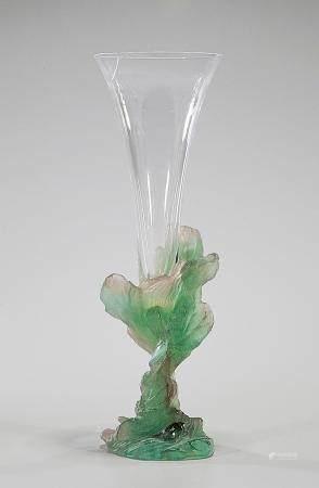 MULTI-COLORED DAUM GLASS VASE