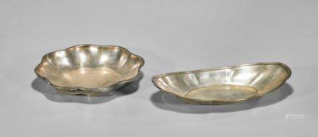 TWO CONTINENTAL SILVER FOLIATE SERVING BOWLS