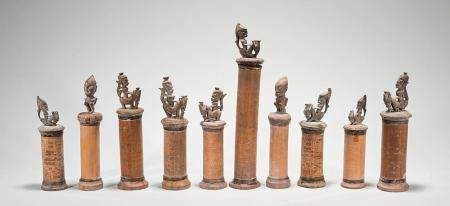 GROUP OF TEN CHINESE CARVED WOOD & BAMBOO COVERED CONTAINERS