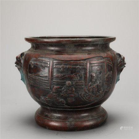 人物花卉纹兽首簋式铜炉