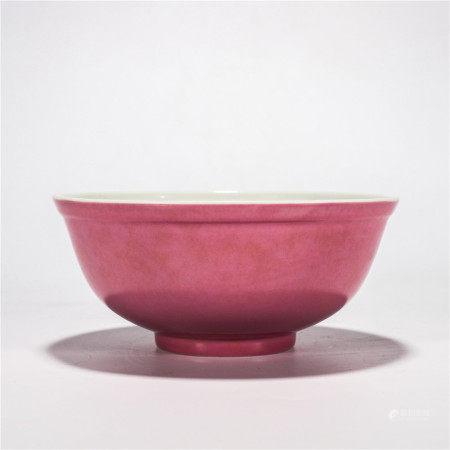 大清宣统年制款 胭脂红釉碗