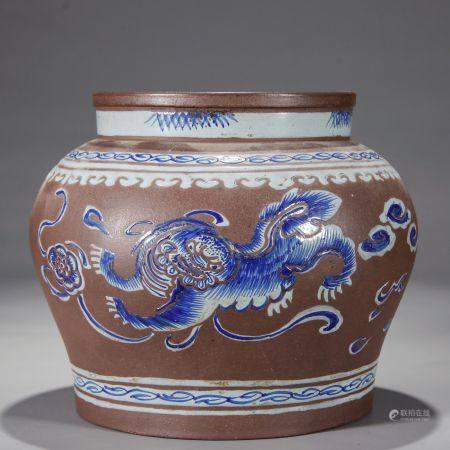 紫砂挂彩狮子戏球纹茶叶罐