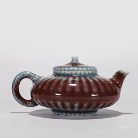 """""""雍正年制""""款 窑变红釉莲瓣纹茶壶"""