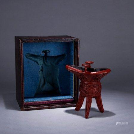剔红雕饕餮纹爵杯