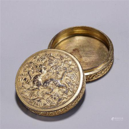 铜鎏金花卉虎纹香盒