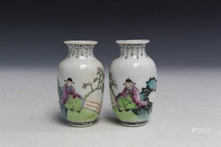 Pair Chinese famille rose porcelain miniature vases.