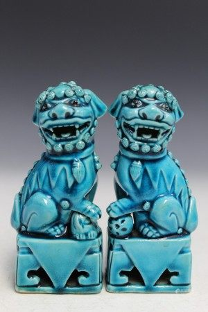 Pair Chinese turquoise glaze porcelain foo dogs.