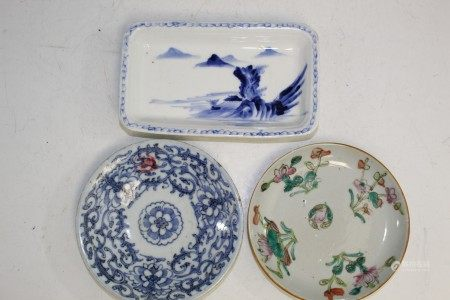 Three Chinese porcelain dishes.