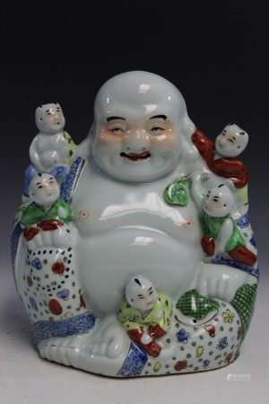 Chinese famille rose porcelain statue of a laughing