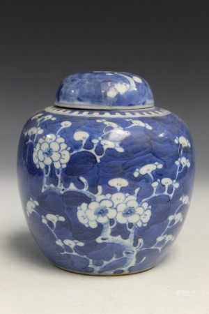 Chinese blue and white porcelain ginger jar with lid.
