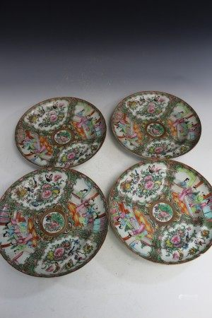 Four Chinese rose medallion porcelain plates.