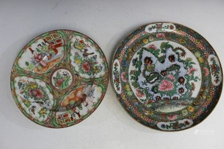 Two Chinese rose medallion porcelain plates.