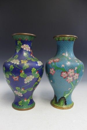 Two Chinese cloisonne vases.