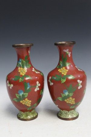 Pair Chinese cloisonne vases.