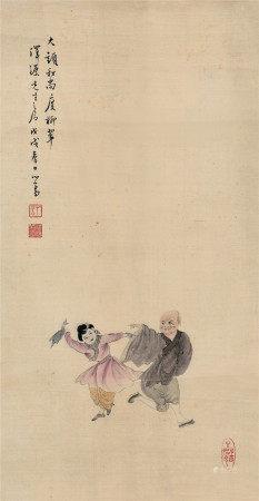 傅儒 大頭和尚渡柳翠圖
