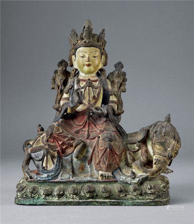 明 銅加彩普賢菩薩像