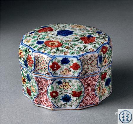 明萬曆 青花五彩十二角盒