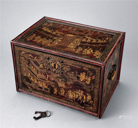 清 描金文具盒