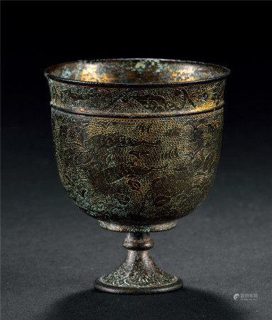 唐 銀鎏金鏨金狩獵紋杯