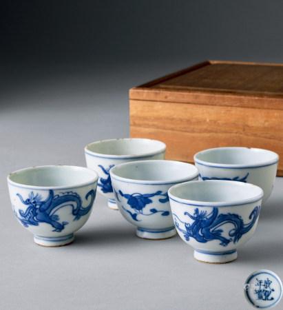青花煎茶杯5客