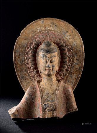北齊 石雕加彩佛