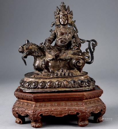 清 銅製財神像