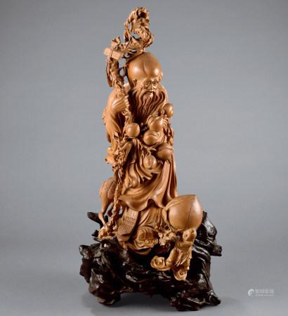 黃楊木雕壽星童子擺件