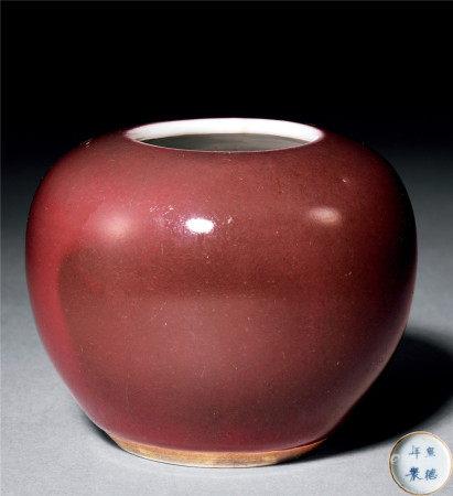 清 紅釉水盂