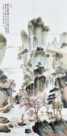 杜伯作 瓷板山水畫