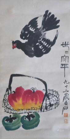 近現代 齊白石 和平(文物商店舊藏、帶火漆)