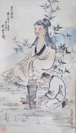 近現代 劉海粟、吳湖帆 人物(文物商店舊藏、帶火漆)