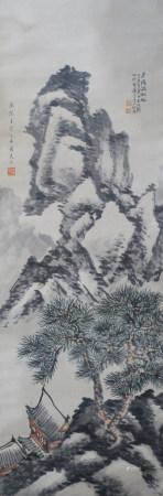 近現代 關良、朱屺瞻 山水(文物商店舊藏、帶火漆)