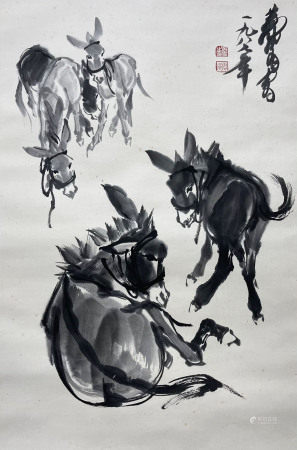 近現代 黃胄 群驢圖