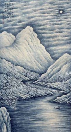 近現代 陶冷月 雪景