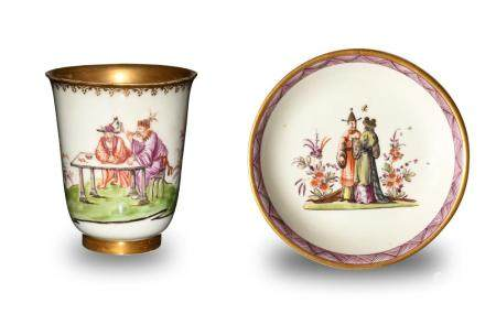 MEISSEN CHINOISERIE TEA CUP AND SAUCER, 18TH CENTURY